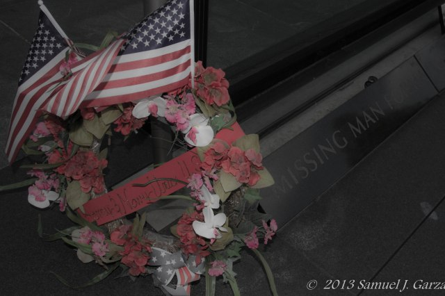 Wreath laid at the memorial.