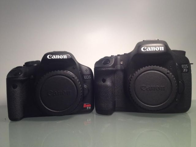 Canon EOS 7D (right) and Canon EOS Rebel T1i (on left and my backup)