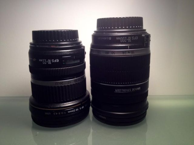 Canon EFS 10-22 mm (left) and Canon EFS 18-200 mm on right.