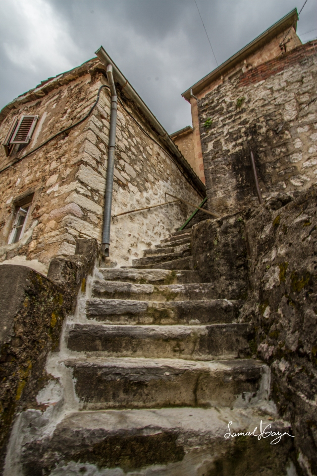 Steps leading away from the town toward the fortress.