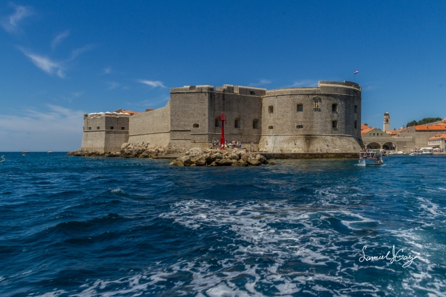 Vie of Dubrovnik from the back of the boat.