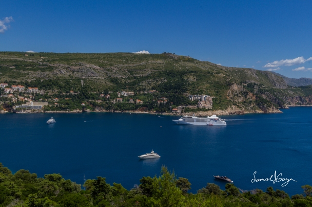 View of the boats cruising the Adriatic.