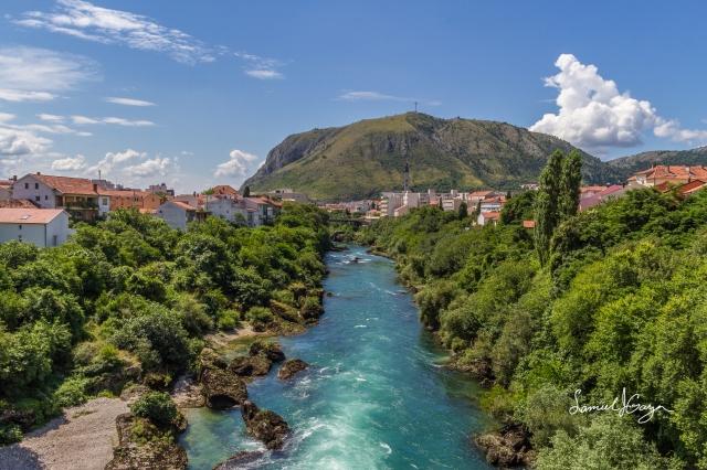View of Mostar from the Hercegovacke Bridge.