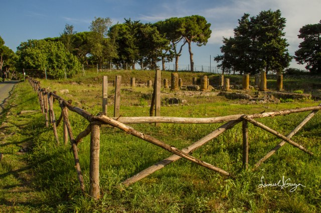 Fenced off Roman ruins.