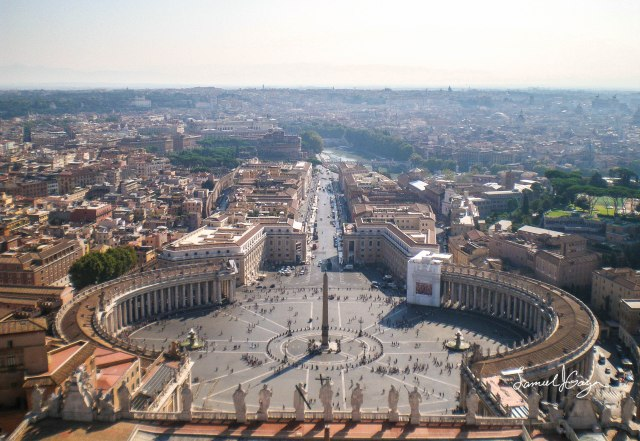 Saint Peter's Square from Saint Peter's Basilica.  Photograph taken in 2009.
