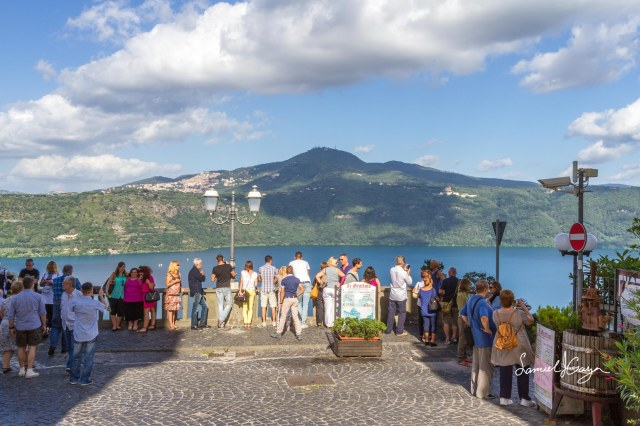 Visitors taking pictures of Lake Albano.