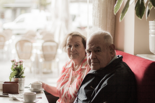My parents enjoying their coffee and breakfast.